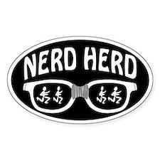 Nerd Herd Glasses Decal White on Black