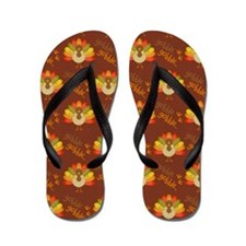 Thanksgiving Turkey Holiday Feast Flip Flops
