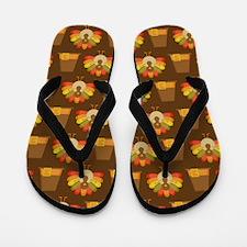 Thanksgiving Turkey and Pilgrim Flip Flops