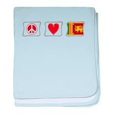 Peace, Love and Sri Lanka baby blanket