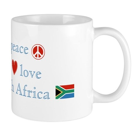 Peace, Love and South Africa Mug