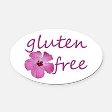 gluten-free hibiscus-.png Oval Car Magnet