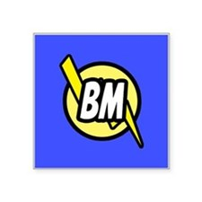 "Blue Best Man Button Square Sticker 3"" x 3"""