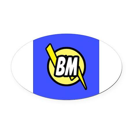 Blue Best Man Button Oval Car Magnet
