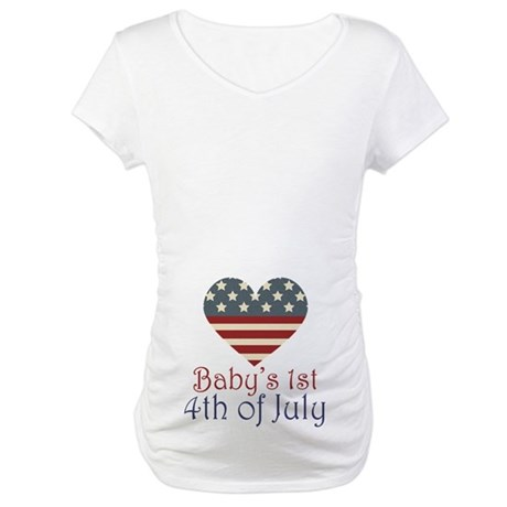 Baby's 4th of July Maternity T-Shirt
