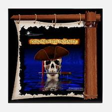Commodore Skull On Ship's Sail Pirate Tile Coaster
