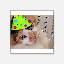 "Calico Cat Birthday Party Square Sticker 3"" x 3"""