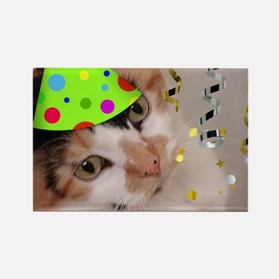 Calico Cat Birthday Party Rectangle Magnet