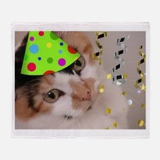 Calico Cat Birthday Party Throw Blanket