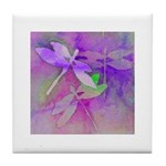 Tile Coaster dragonflies blue, lavender, green