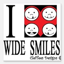 """I heart wide smiles Square Car Magnet 3"""" x 3"""""""