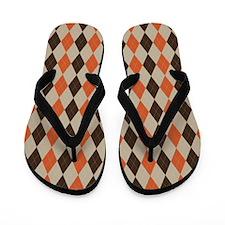 Orange Brown and Beige Argyle Flip Flops