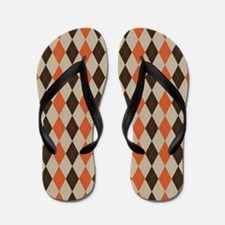 Orange Brown and Beige Argyle Flip Flops