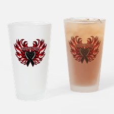 Skin Cancer Heart Wings Drinking Glass