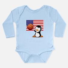 Basket ball Penguin Long Sleeve Infant Bodysuit