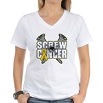 Screw Neuroblastoma Cancer Women's V-Neck T-Shirt