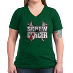 Screw Oral Cancer Women's V-Neck Dark T-Shirt