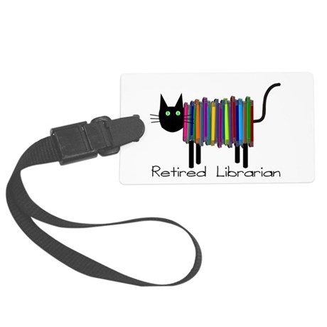 Retired Librarian Book Cat.PNG Large Luggage Tag