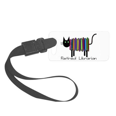 Retired Librarian Book Cat.PNG Small Luggage Tag