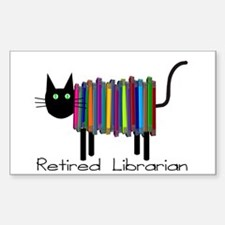 Retired Librarian Book Cat.PNG Sticker (Rectangle)