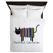 Retired Librarian Book Cat.PNG Queen Duvet