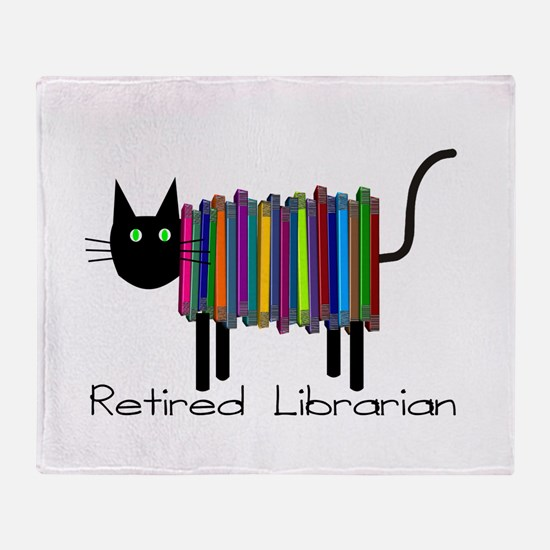 Retired Librarian Book Cat.PNG Throw Blanket