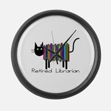 Retired Librarian Book Cat.PNG Large Wall Clock
