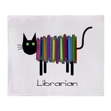 Librarian Book Cat.PNG Throw Blanket