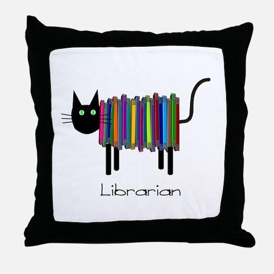 Librarian Book Cat.PNG Throw Pillow