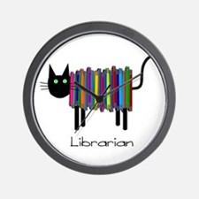 Librarian Book Cat.PNG Wall Clock