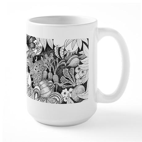 Woman and Vegetables Large Mug
