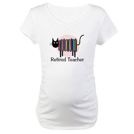 Retired Teacher Book Cat.PNG Maternity T-Shirt
