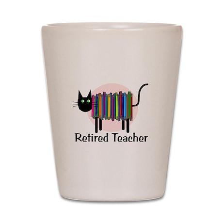 Retired Teacher Book Cat.PNG Shot Glass