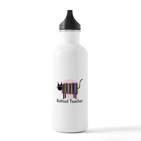 Retired Teacher Book Cat.PNG Stainless Water Bottl