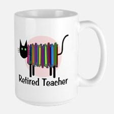 Retired Teacher Book Cat.PNG Large Mug