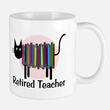 Retired Teacher Book Cat.PNG Mug