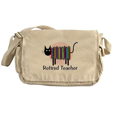 Retired Teacher Book Cat.PNG Messenger Bag