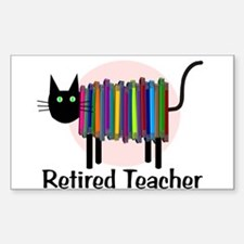 Retired Teacher Book Cat.PNG Decal