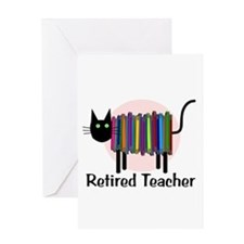 Retired Teacher Book Cat.PNG Greeting Card