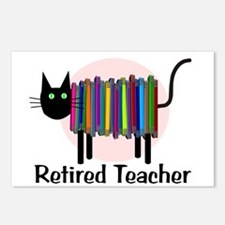 Retired Teacher Book Cat.PNG Postcards (Package of