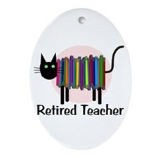 Retired Teacher Book Cat.PNG Ornament (Oval)