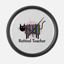 Retired Teacher Book Cat.PNG Large Wall Clock