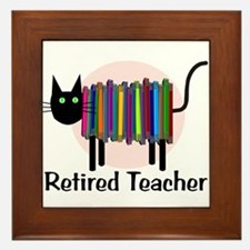 Retired Teacher Book Cat.PNG Framed Tile
