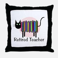 Retired Teacher Book Cat.PNG Throw Pillow