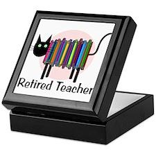 Retired Teacher Book Cat.PNG Keepsake Box