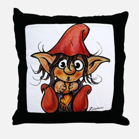 Cute Winter Trollelf Throw Pillow