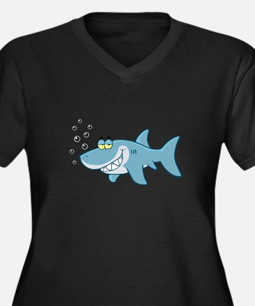 Shark Women's Plus Size V-Neck Dark T-Shirt