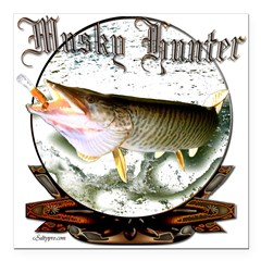 Musky hunter.png Square Car Magnet 3
