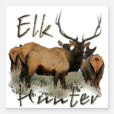 """Elk Hunter Square Car Magnet 3"""" x 3"""""""