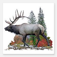 """bull elk Square Car Magnet 3"""" x 3"""""""